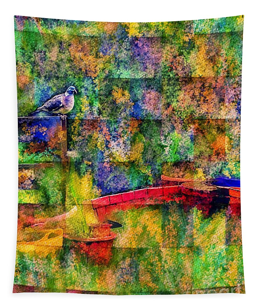 Pigeon Tapestry featuring the mixed media Spirit Messenger by Laurie's Intuitive