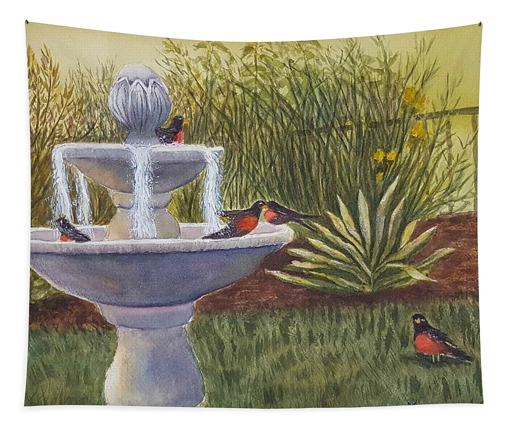 Fountain Tapestry featuring the painting Splish Splash by Judi Sanders