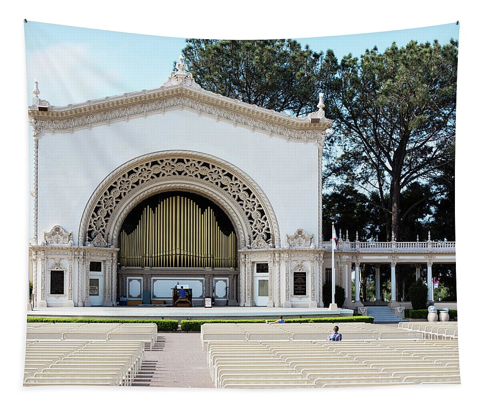 Outdoor Entertainment Tapestry featuring the photograph Spreckles Organ Pavillion by Robert VanDerWal
