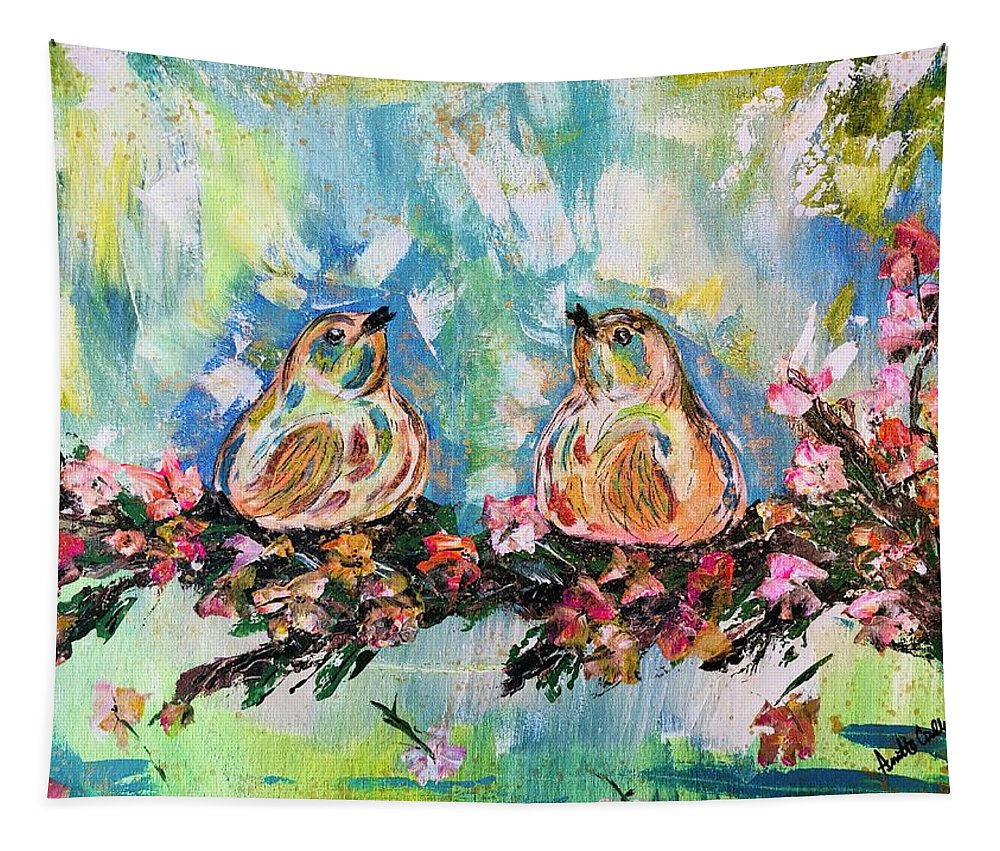 Birds Tapestry featuring the painting Spring Love Birds by Annette Cirillo
