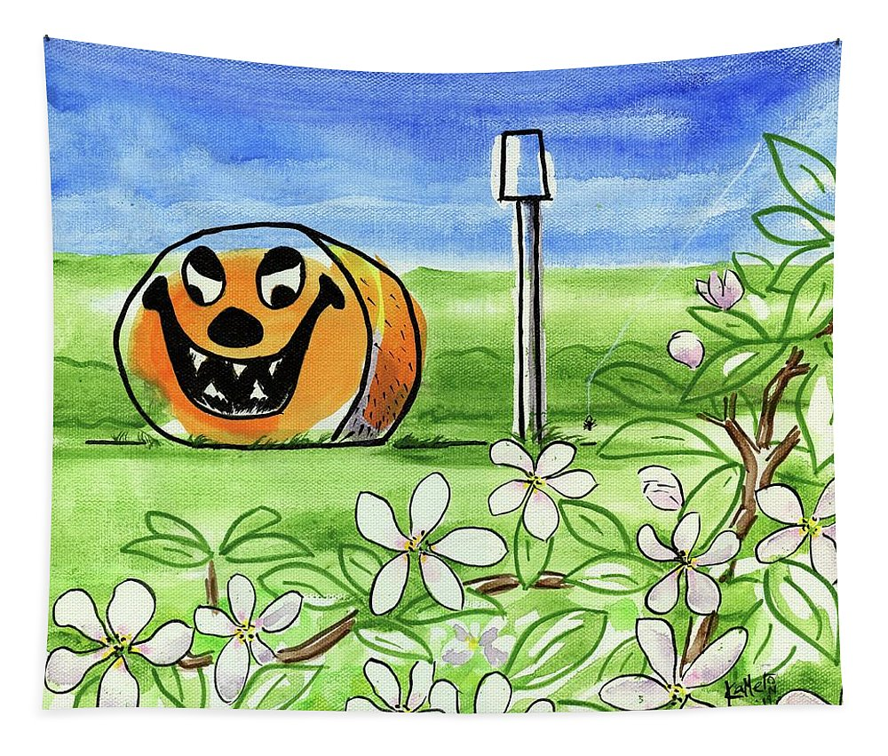 Halloween Tapestry featuring the painting Spring-o-ween by Kevin Cameron
