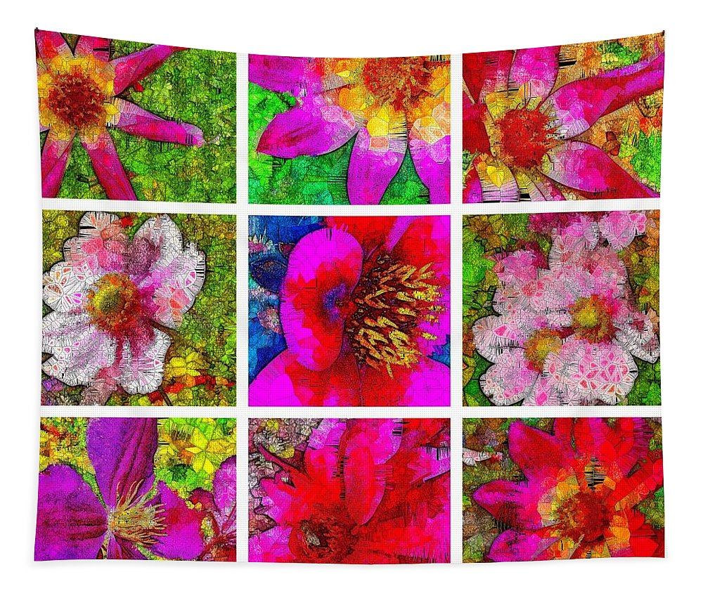 Stained Glass Tapestry featuring the digital art Stained Glass Pink Flower Collage by Mo Barton