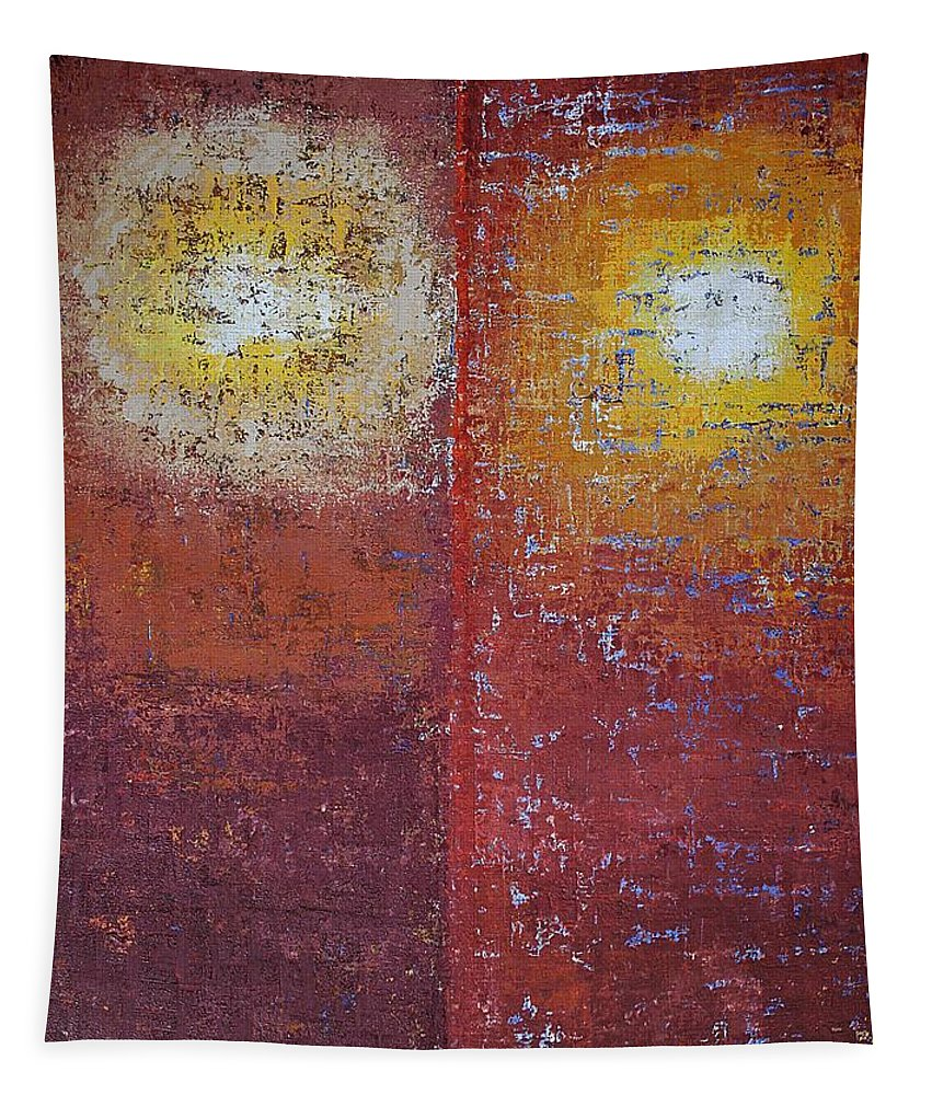 Sun Tapestry featuring the painting Staring Into The Suns Original Painting by Sol Luckman