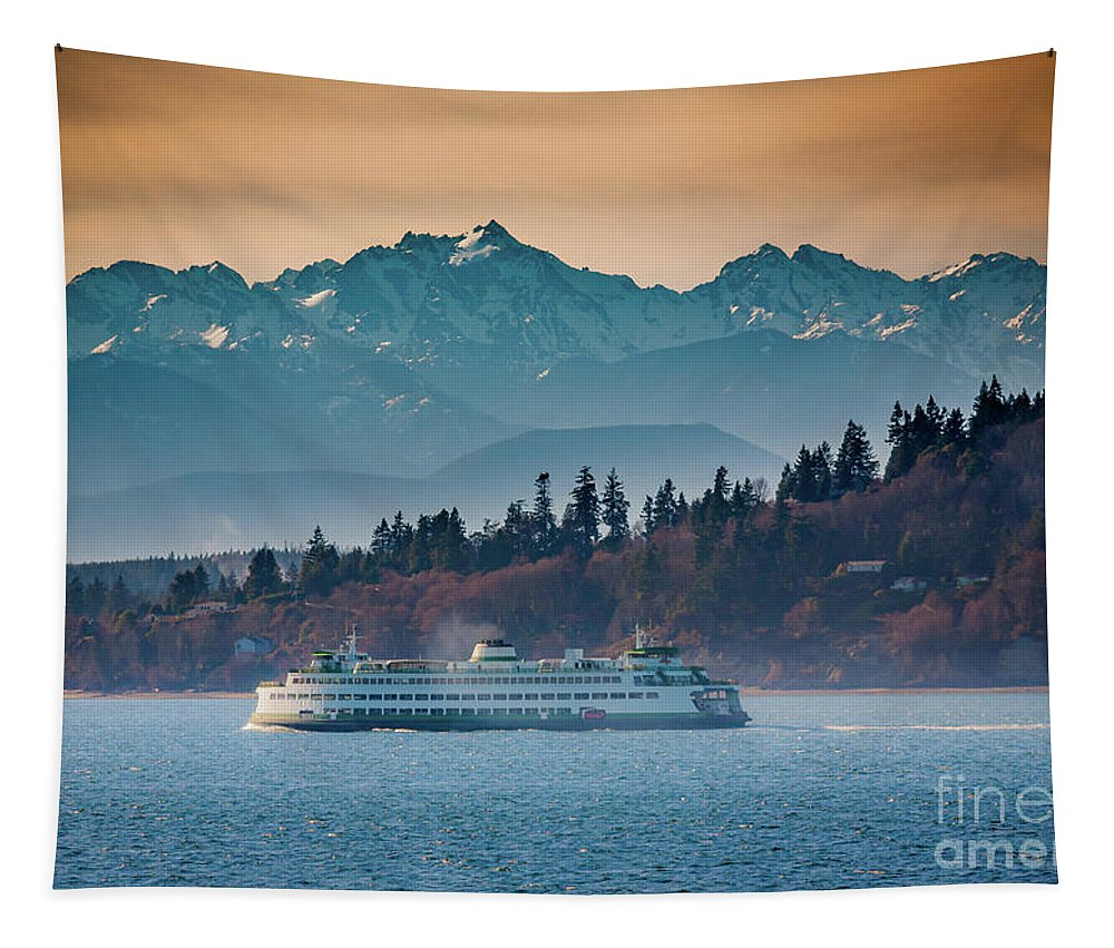 Seattle Tapestry featuring the photograph State Ferry And The Olympics by Inge Johnsson