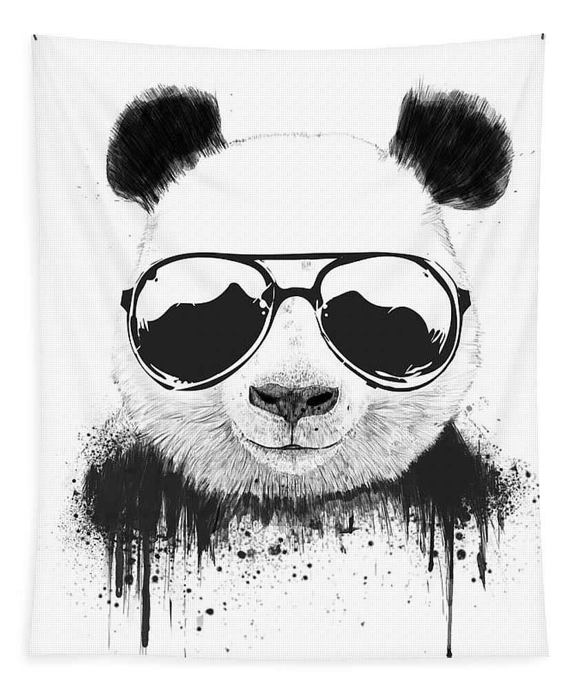 Panda Tapestry featuring the mixed media Stay Cool by Balazs Solti