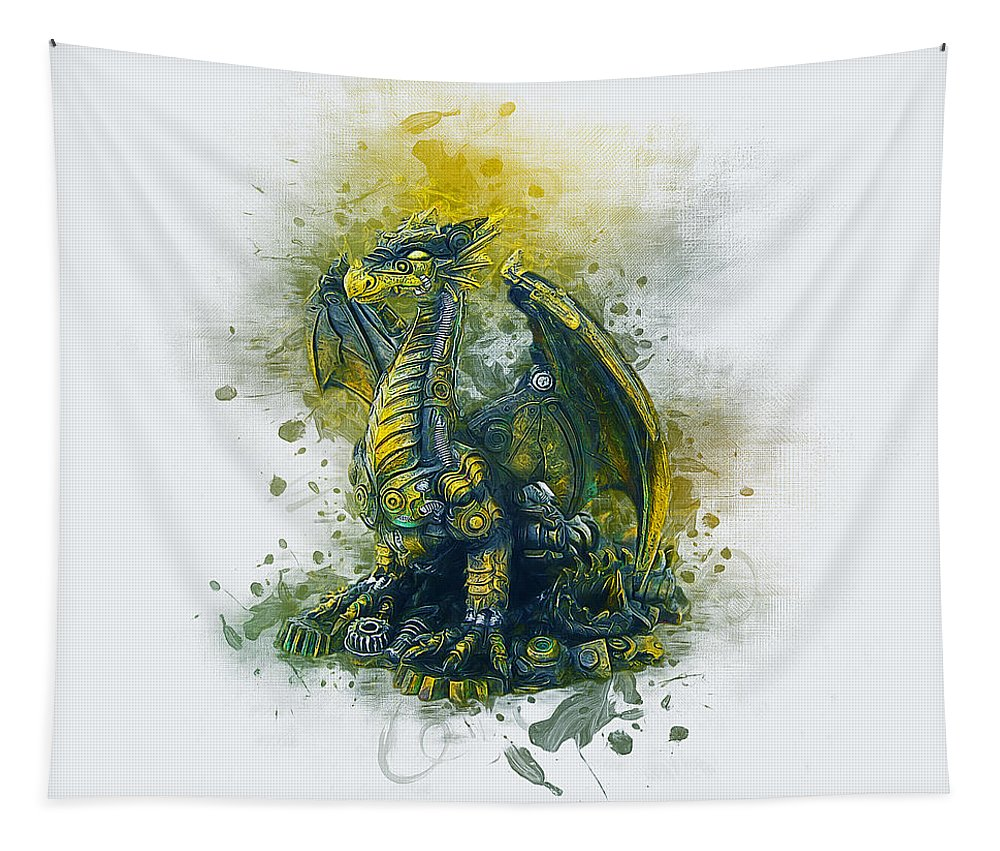Steampunk Tapestry featuring the digital art Steampunk Dragon by Ian Mitchell