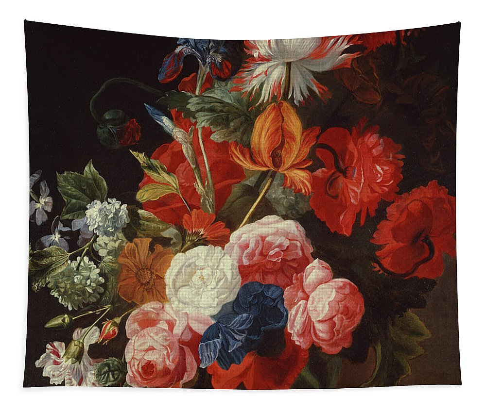 Verelst Tapestry featuring the painting Still Life With Flowers By Johannes Or Jan Verelst by Johannes or Jan Verelst