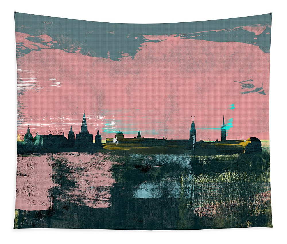 Stockholm Tapestry featuring the mixed media Stockholm Abstract Skyline II by Naxart Studio