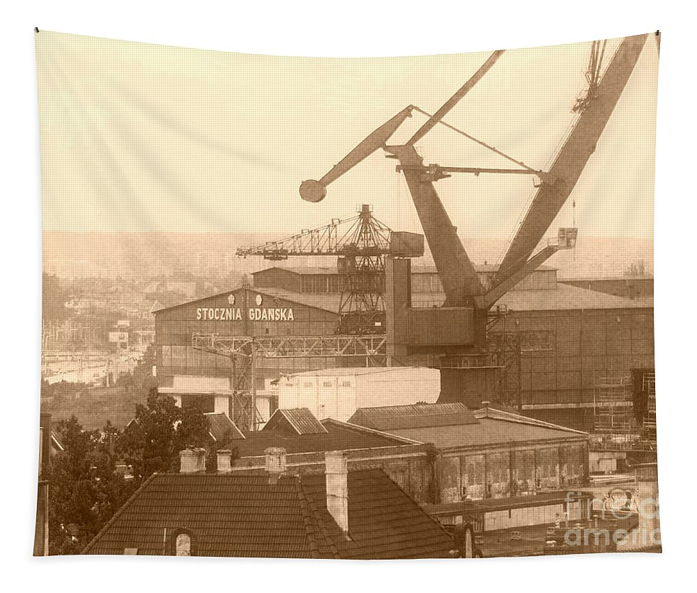Shipyard Tapestry featuring the photograph Stocznia Gdanska In Vintage by Jurgen Huibers