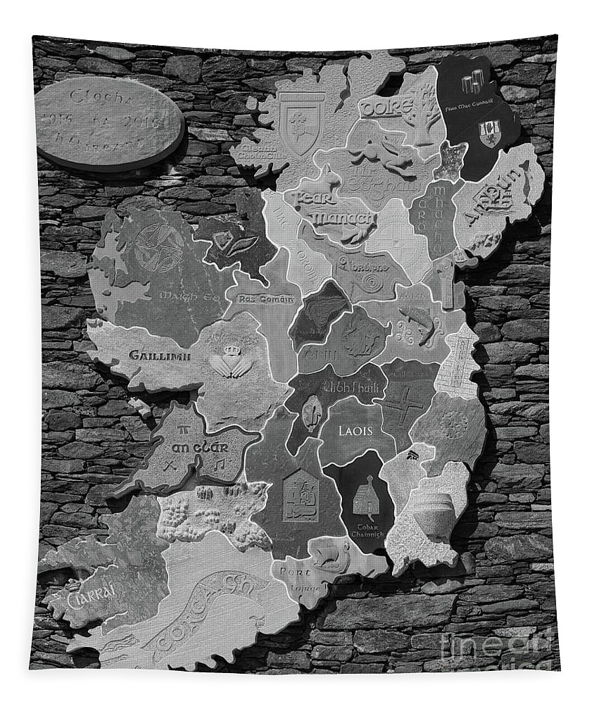 Stone Tapestry featuring the photograph Stone Map Of Ireland Bw by Eddie Barron