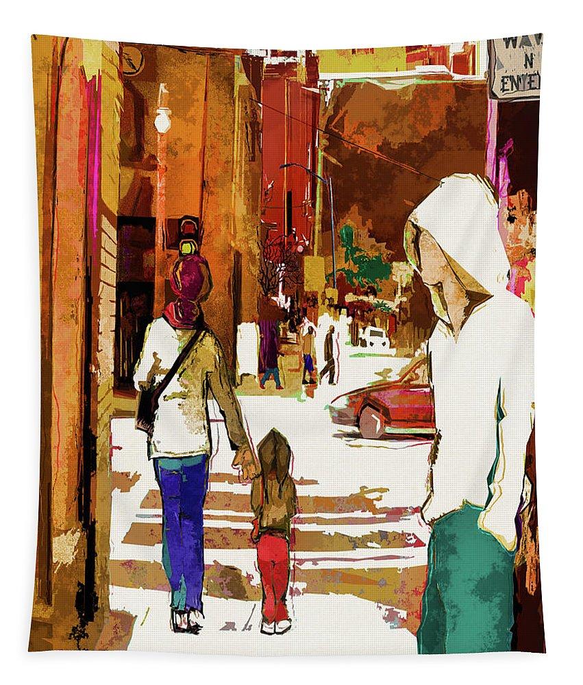 City Life Tapestry featuring the digital art Street Life Innocence by Regina Wyatt