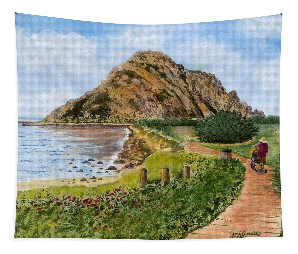 Morro Rock Tapestry featuring the painting Strolling To The Rock by Judi Sanders