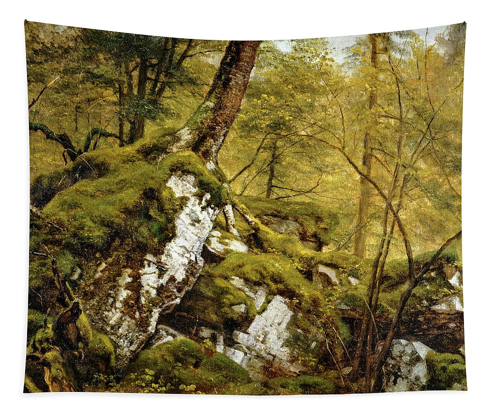 Asher Brown Durand Tapestry featuring the painting Study Of A Wood Interior by Asher Brown Durand