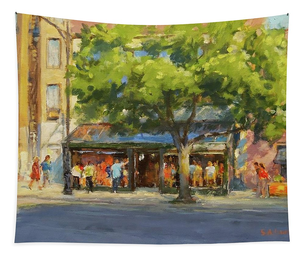 New York Tapestry featuring the painting Summer Afternoon At The Galway Hooker by Peter Salwen