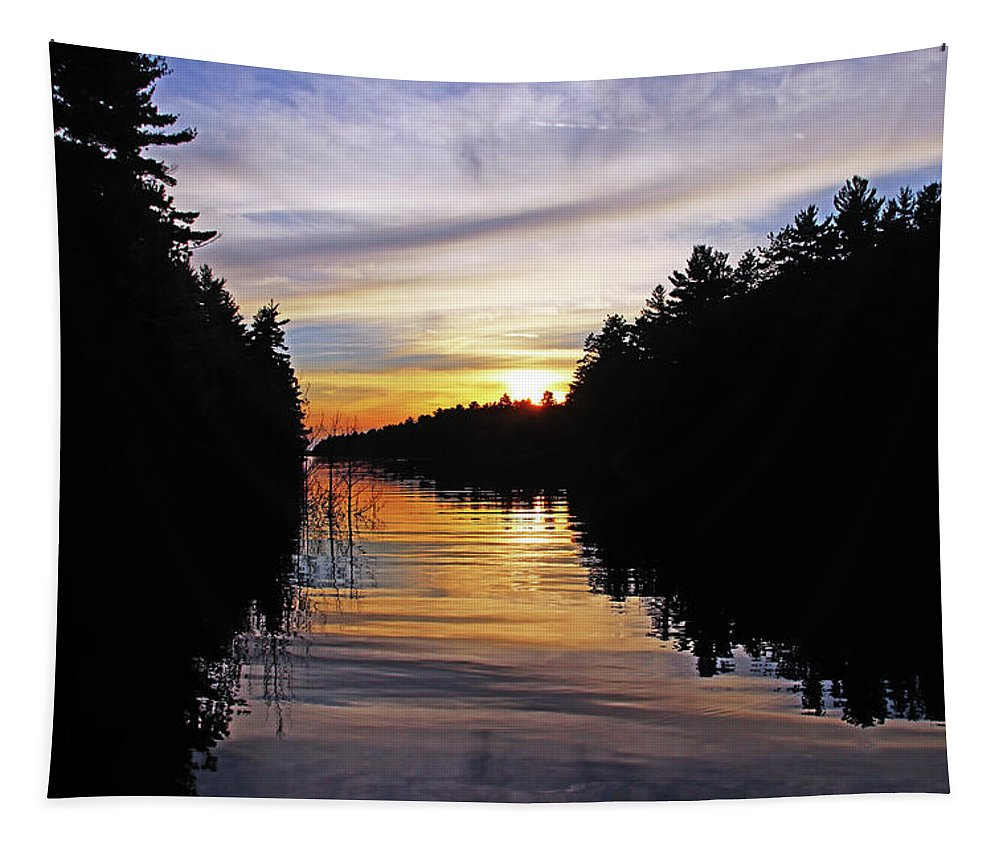 Shawanaga River Tapestry featuring the photograph Sundown On The River by Debbie Oppermann