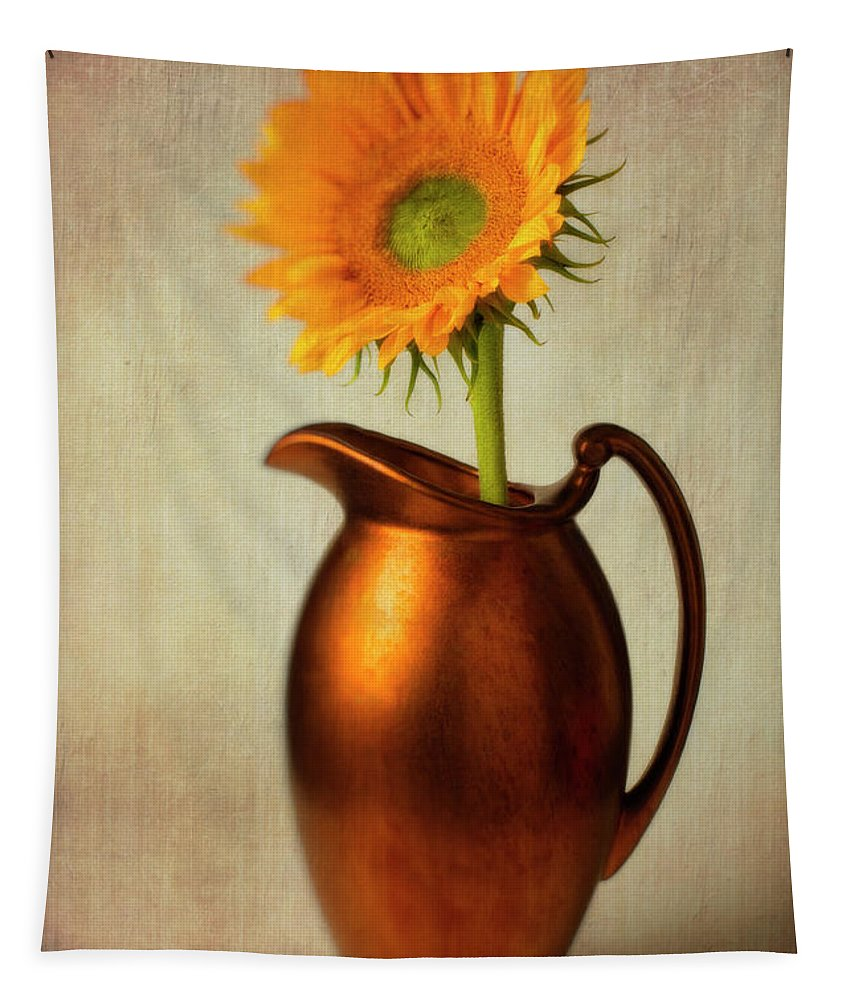 Bronze Pitcher Tapestry featuring the photograph Sunflower In Bronze Pitcher by Garry Gay