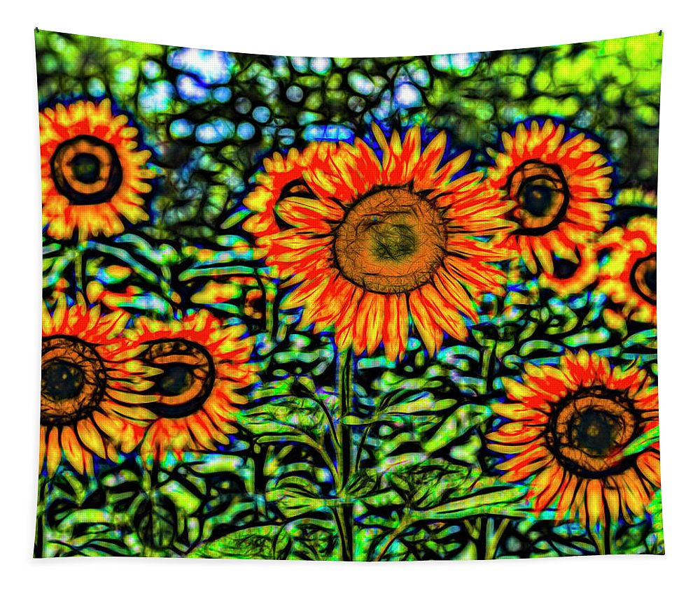 Stained Glass Flower Tapestry featuring the photograph Sunflowers Stained Glass Art by David Pyatt