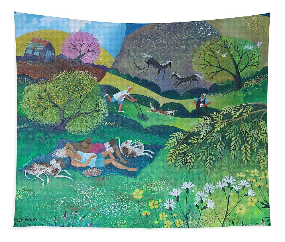 Sunny Tapestry featuring the painting Sunny Suburban Sunday by Lisa Graa Jensen