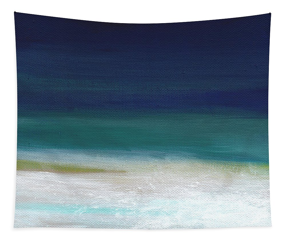 Abstract Tapestry featuring the painting Surf And Sky- Abstract Beach Painting by Linda Woods