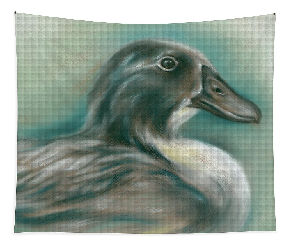Bird Tapestry featuring the pastel Swedish Blue Duck by MM Anderson