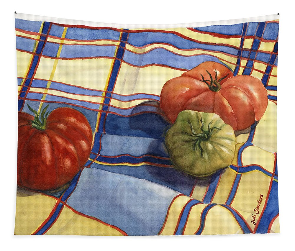 Salad Tapestry featuring the painting Tasty Trio by Judi Sanders