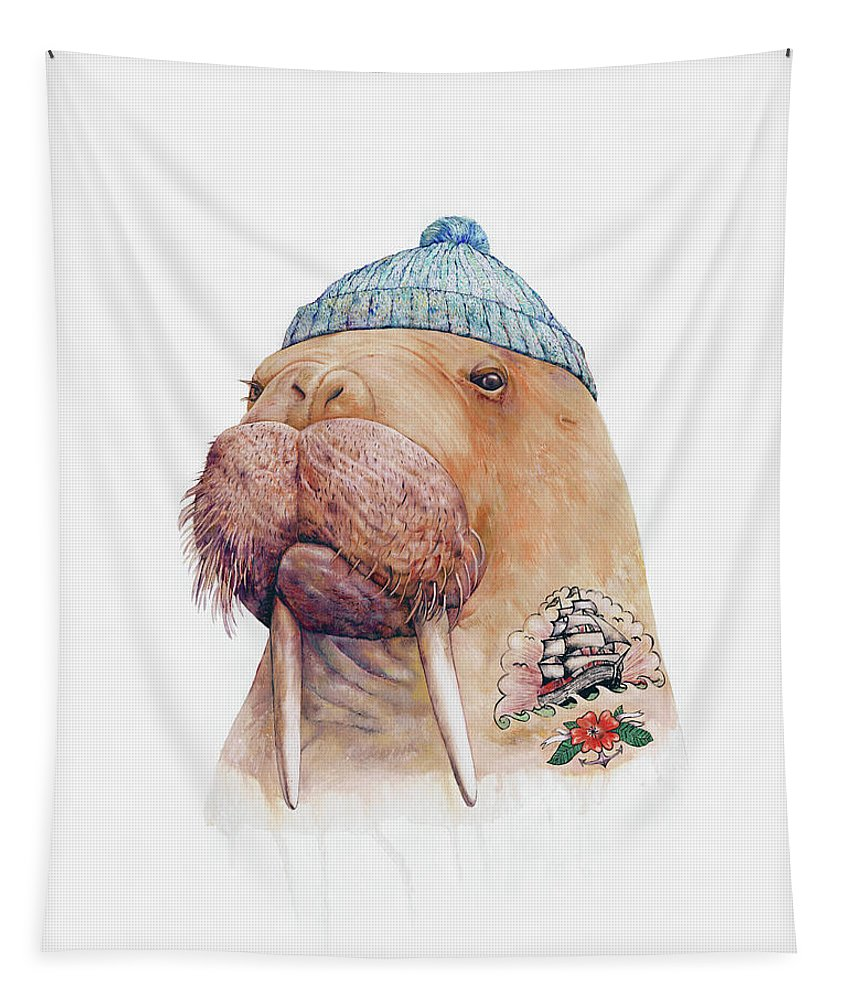 Tattoo Tapestry featuring the painting Tattooed Walrus by Animal Crew