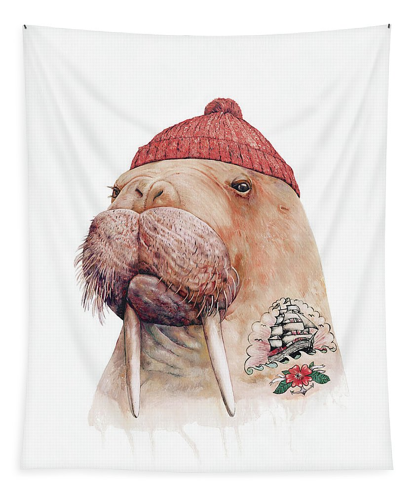 Tapestry featuring the painting Tattooed Walrus Red by Animal Crew