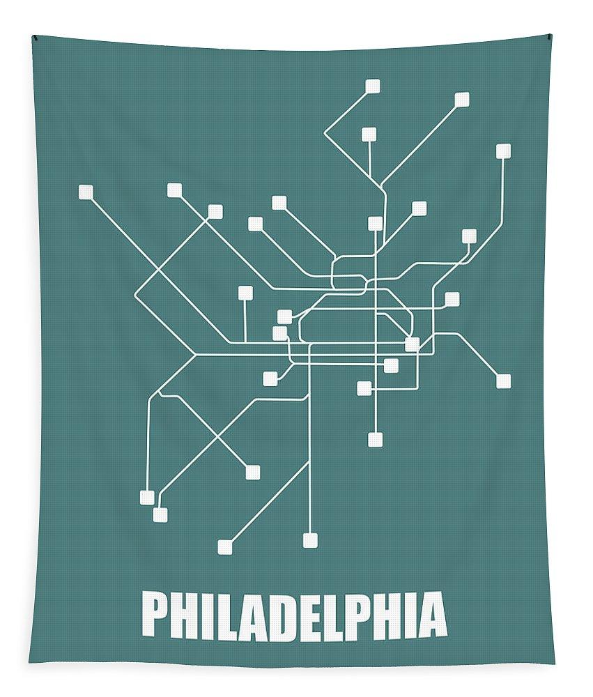 Philadelphia Tapestry featuring the digital art Teal Philadelphia Subway Map by Naxart Studio