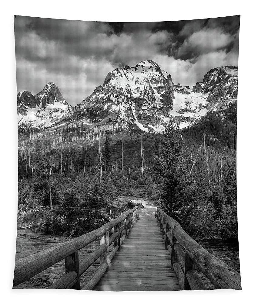 Black And White Bridge Tapestry featuring the photograph Teton Mountain Bridge Black And White by Dan Sproul