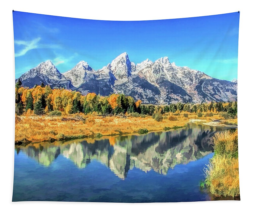 Tetons Tapestry featuring the painting Grand Teton National Park Mountain Reflections by Christopher Arndt