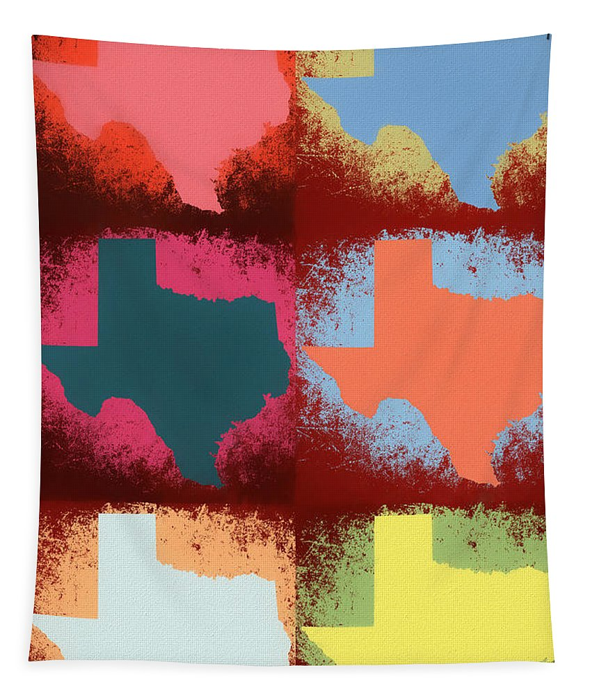 Texas Pop Art Panels Tapestry featuring the mixed media Texas Pop Art Panels by Dan Sproul