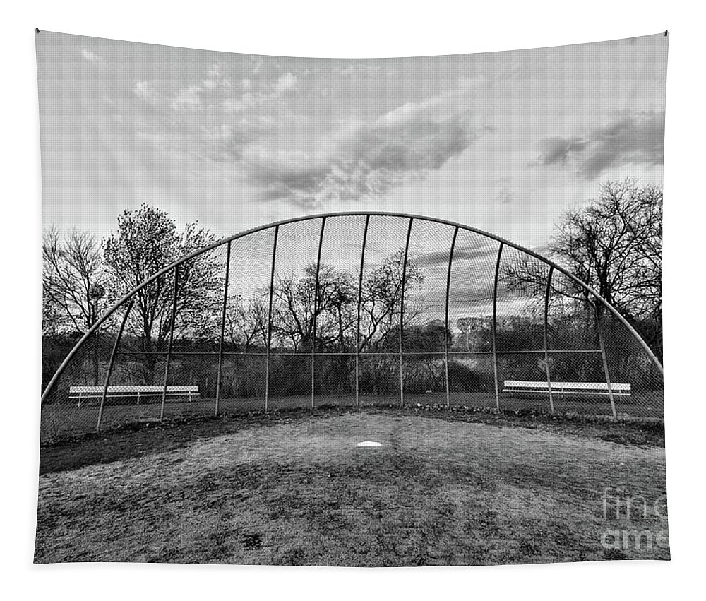 Paul Ward Tapestry featuring the photograph The Baseball Field Black And White by Paul Ward