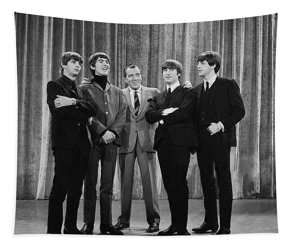 The Beatles Tapestry featuring the photograph the beatles and ed sullivan - February, 1964 by Mountain Dreams