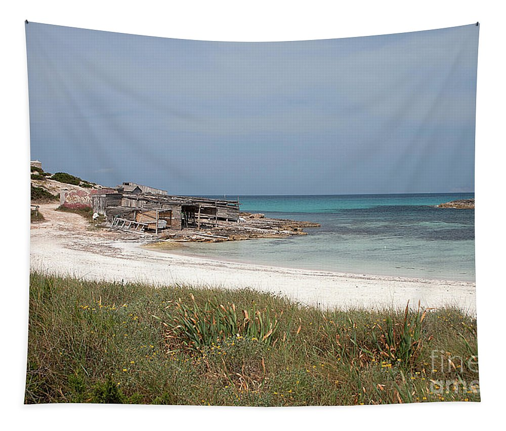 Formentera Tapestry featuring the photograph The Boathouse And The Beach by John Edwards
