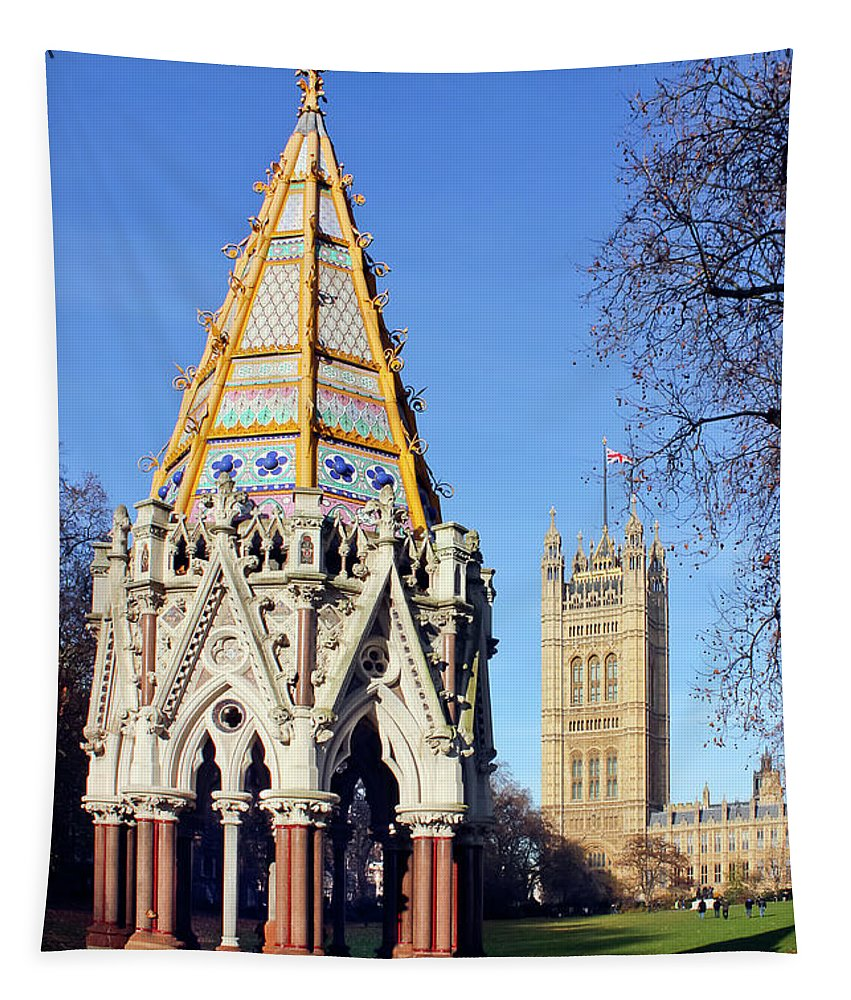London Tapestry featuring the photograph The Buxton Memorial Fountain London by Terri Waters