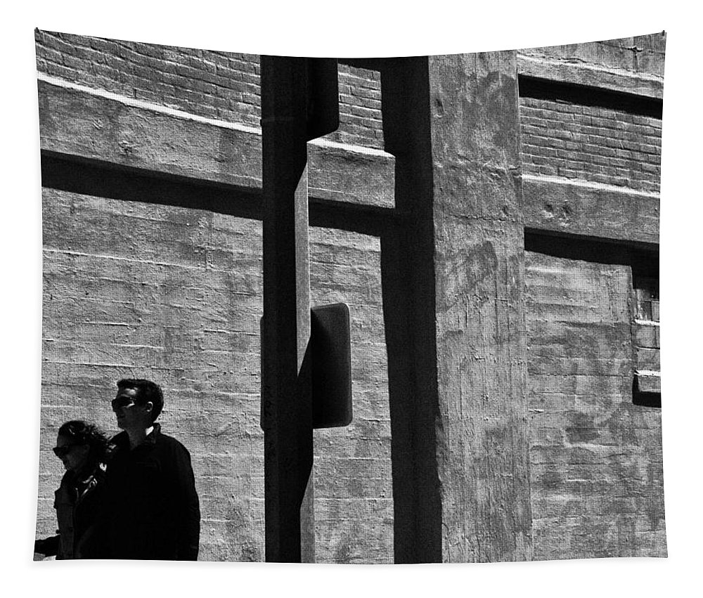 Streets Streetphotography B&w People Couples Walking Shadows Backround Love Life Live Mundane Tapestry featuring the photograph The Couple No.1 In A Series by Salvatore Sgroi