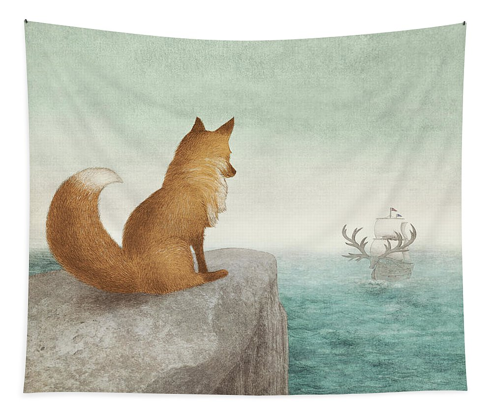 Fox Tapestry featuring the drawing The Day the Antlered Ship Arrived by Eric Fan