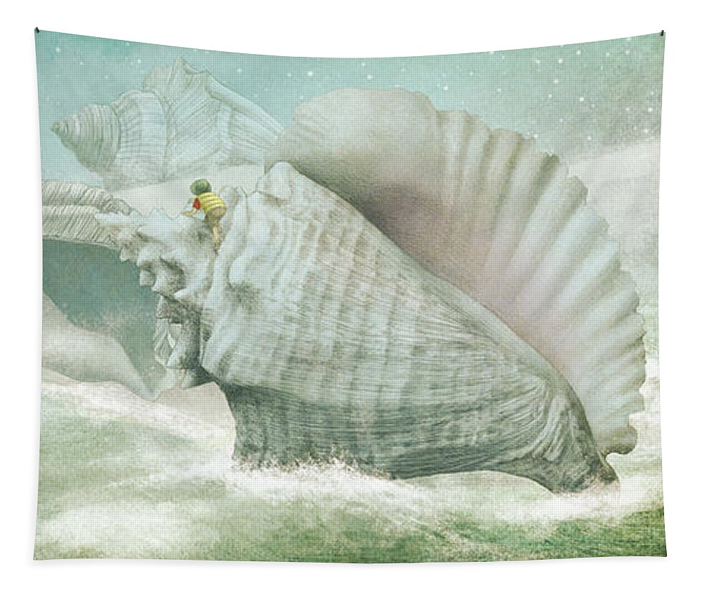 Shells Tapestry featuring the drawing The Island of Giant Shells by Eric Fan
