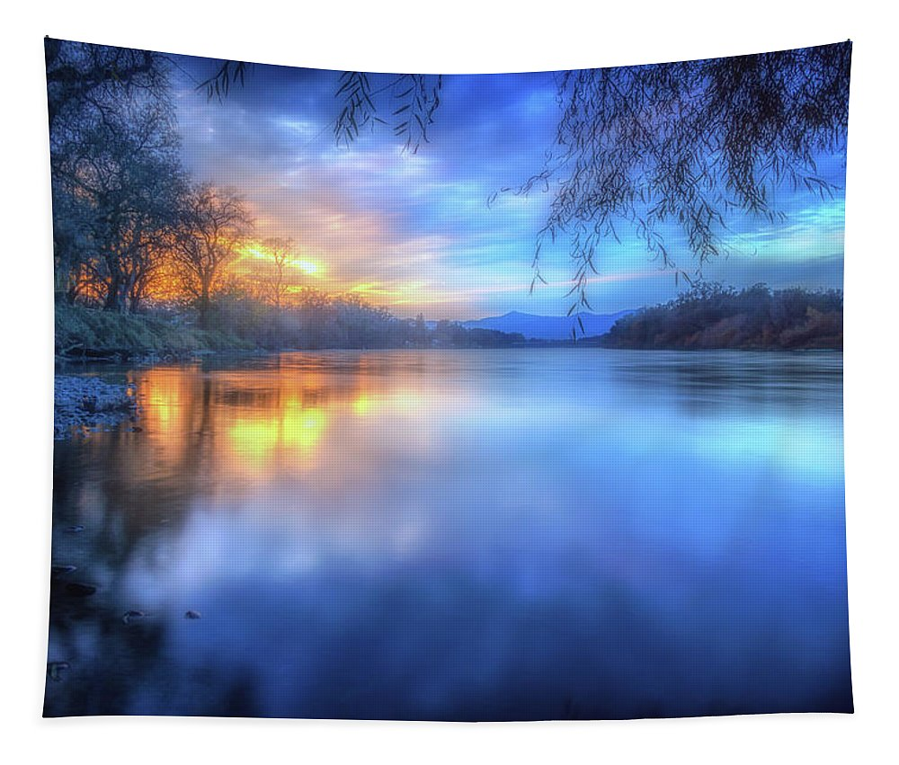 Anderson Tapestry featuring the photograph The Last Light Sunset On The Sacramento River by Marnie Patchett
