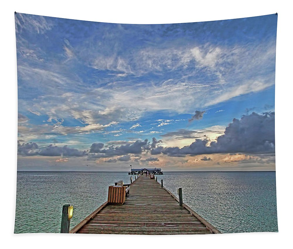 Anna Maria City Pier Tapestry featuring the photograph The Long Walk by HH Photography of Florida
