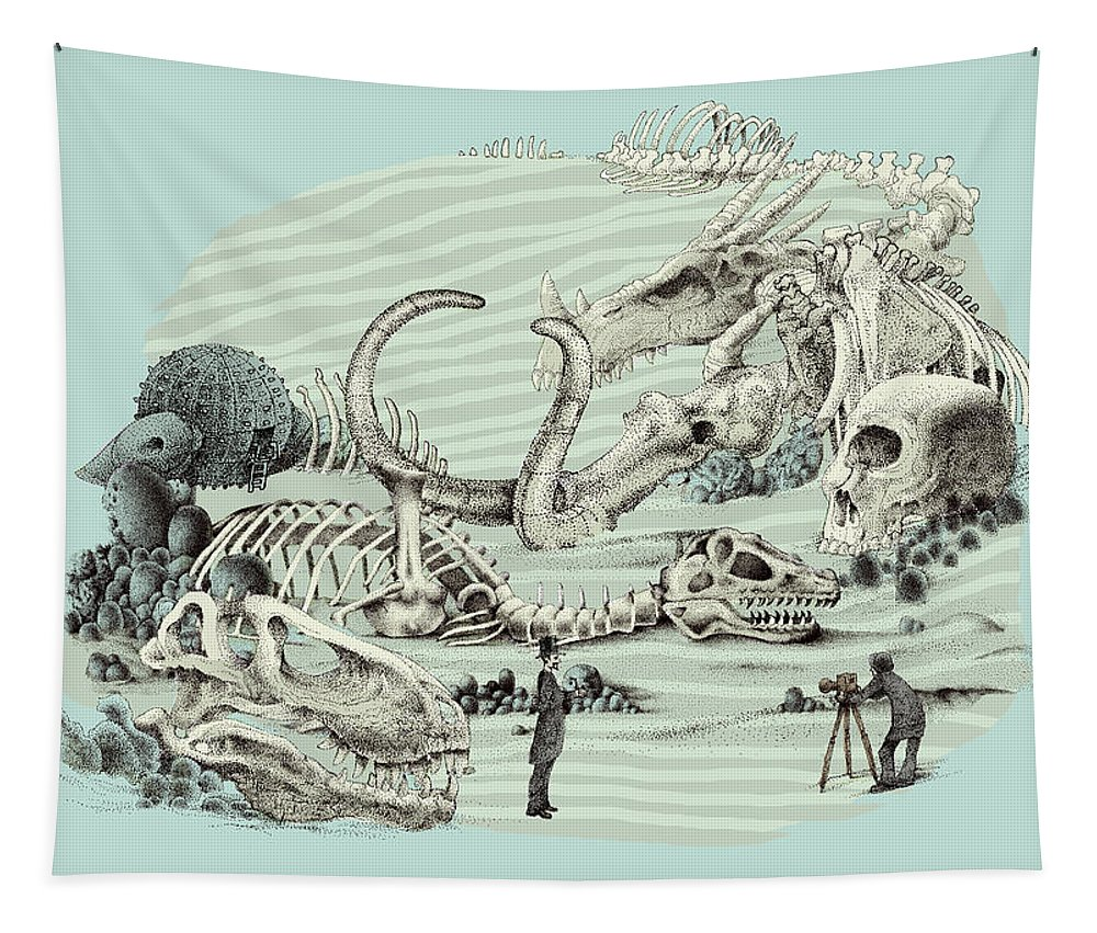 Vintage Tapestry featuring the drawing The Lost Beach by Eric Fan