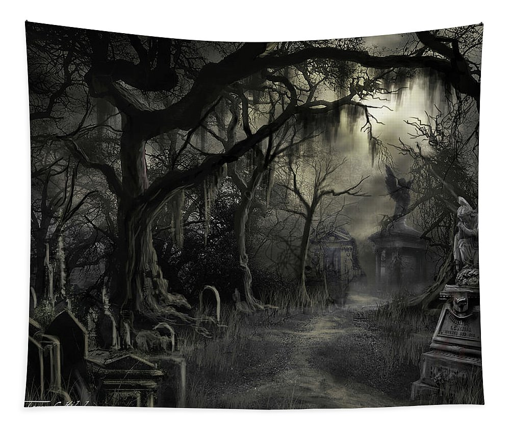 Cemetery Tapestry featuring the painting The Lost Cemetery by James Christopher Hill