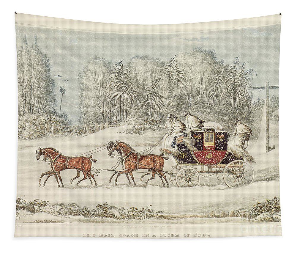 The Mail Coach In A Storm Of Snow Tapestry featuring the painting The Mail Coach In A Storm Of Snow 1825 by James Pollard