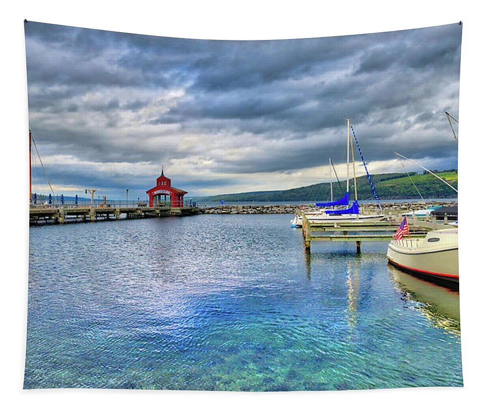 Finger Lakes Tapestry featuring the photograph The Marina At Seneca Lake - Finger Lakes, New York by Lynn Bauer