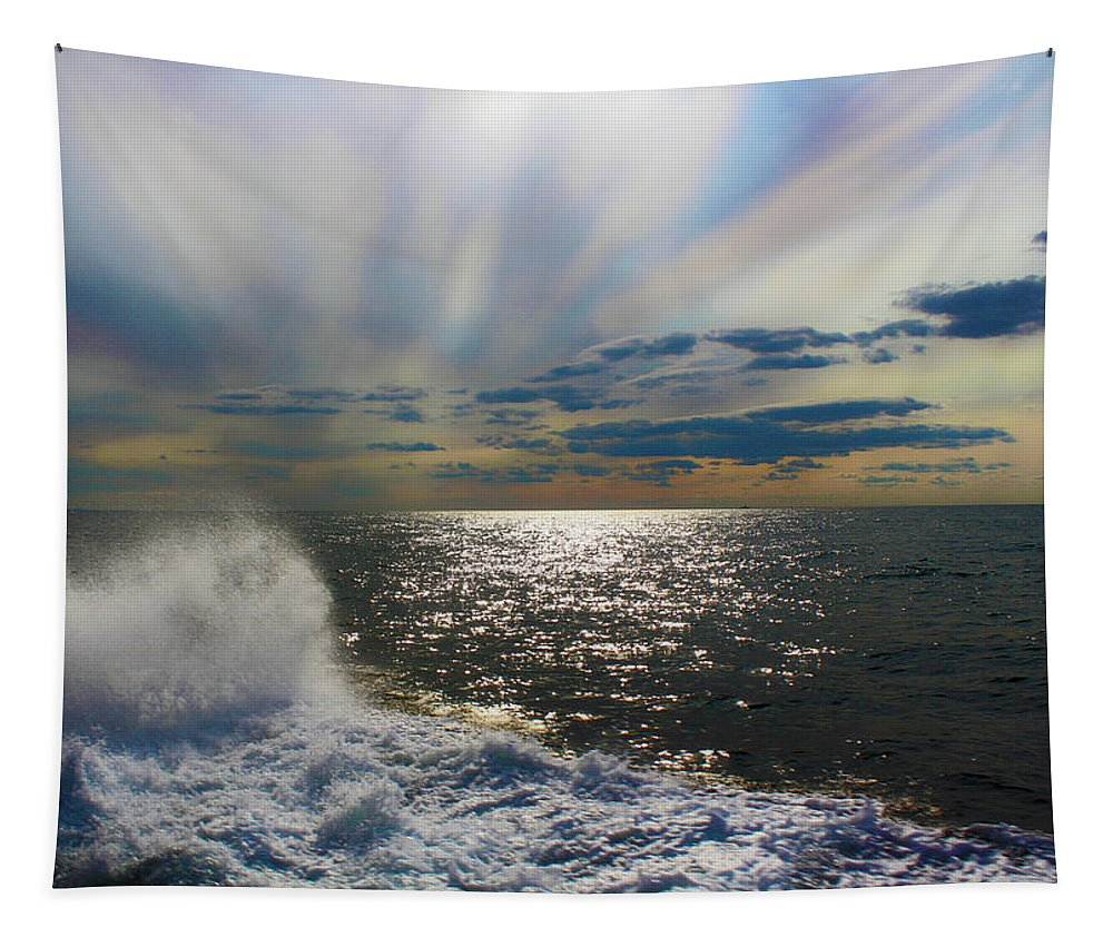 The Ocean Stirs The Heart Tapestry featuring the photograph The Ocean Stirs The Heart by Linda Sannuti