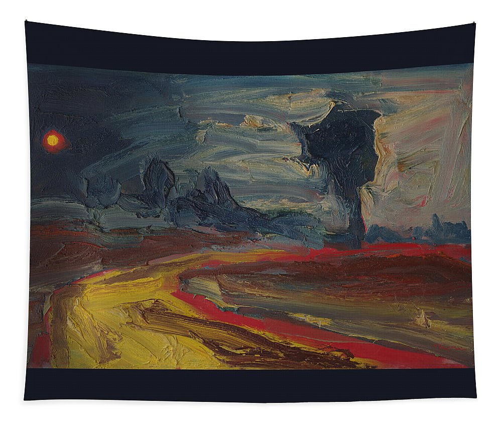 Landscape Tapestry featuring the painting The Outer Light Breaks by Michael Shipman