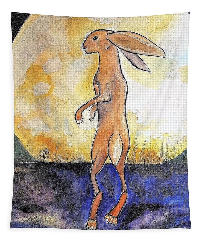 The Book The Rabbit Prince Tapestry featuring the painting The Rabbit Prince by Karen Trout