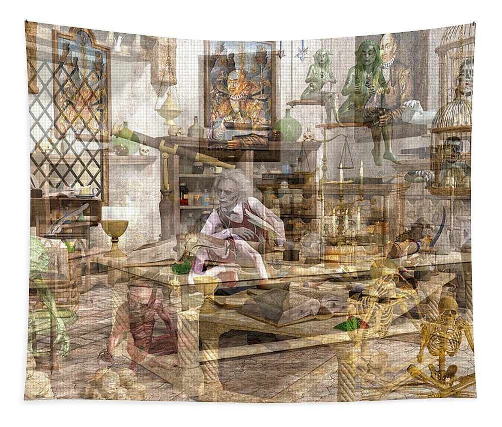 Wizard Tapestry featuring the digital art The Reality Question by Betsy Knapp