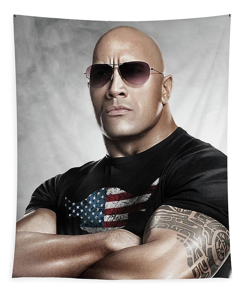 The Rock Tapestry featuring the photograph The Rock Dwayne Johnson I I by Movie Poster Prints
