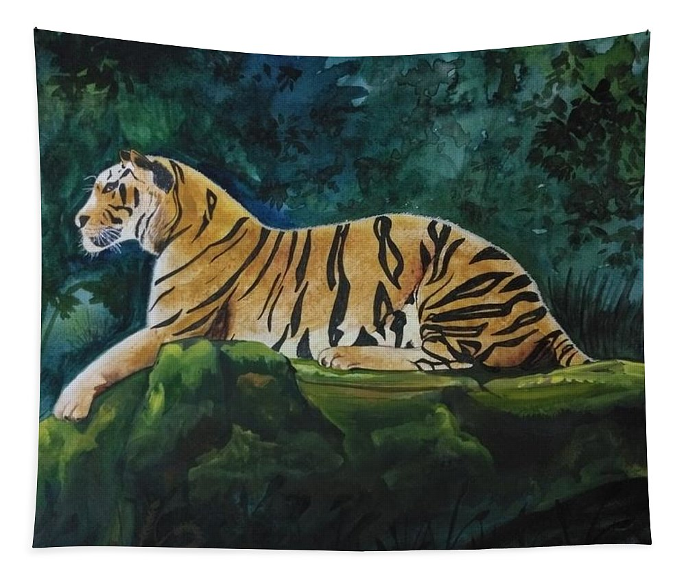 Tiger Tapestry featuring the painting The Royal Bengal Tiger by Bishnupriya Borkakoty